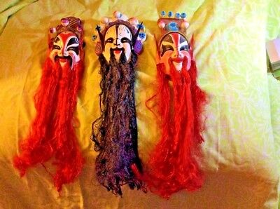 Colorful Chinese Masks Very Long Beards Highly Decorative w/Original Box!!