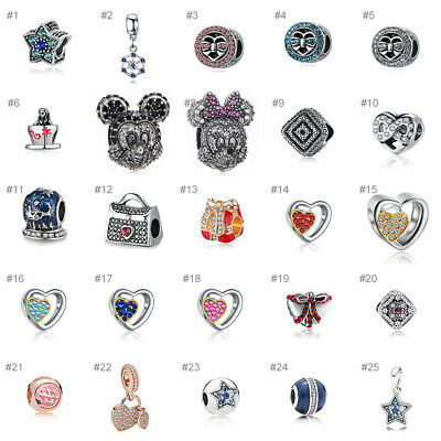 European Beads Silver Charms Pendants 925 Sterling Bracelets Chain Fit women