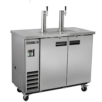"""Maxx Cold 48"""" Commercial Kegerator Beer Cooler Dispenser Stainless Steel 2 Taps"""