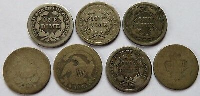 1841/42/56/75?/90 Seated Liberty Dimes + 1830? Capped Bust 10C coins (192030P)