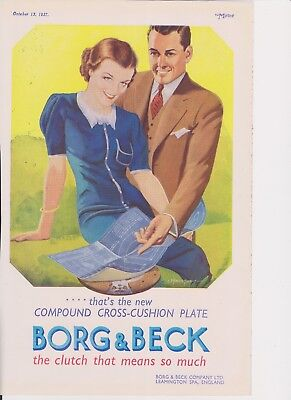 Original 1937 Print Ad BORG & BECK British auto parts clutch vintage art