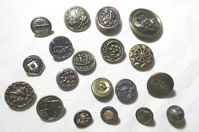Antique Lot Of 19 Sml Brass Metal Pic Waistcoat Buttons Birds Angel People Dogs