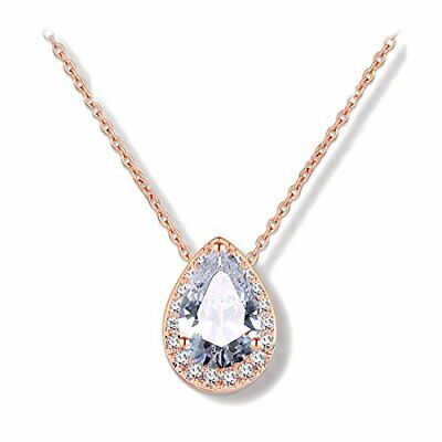 Odette Rose Gold Plated Micro-Pave CZ Framed Pear-Shaped Solitaire Necklace P...