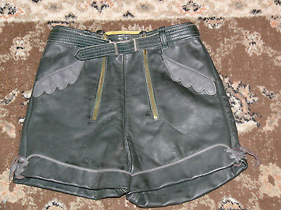 Vintage Authentic Genuine Leather Youth Boys Oktoberfest Lederhosen Pants Size 8