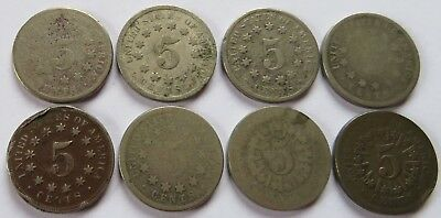 1866/67/68/69 Shield Nickels, 8 Vintage 5C 5 Cents coins  (192057P)