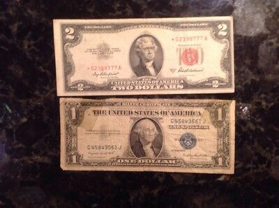 1953 A $2  USN - STAR NOTE - Red Seal + 1935 G $1 Silver Certificate
