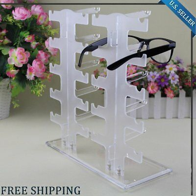 Acrylic Clear Display Retail Show Stand Holder Rack For Glasses Sunglasses US EK
