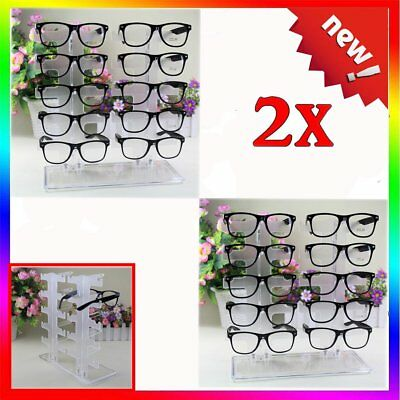 2X Acrylic Clear Display Retail Show Stand Holder Rack For Glasses Sunglasses EK