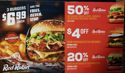 Red Robin Gourmet Burgers and Brews Coupons 50% off $4 Off 20% off Savings