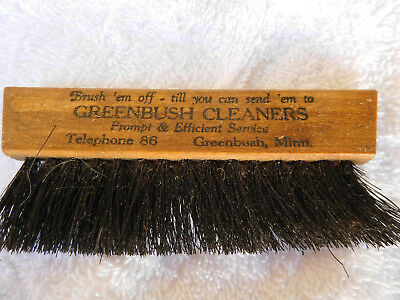 VINTAGE CLOTHES BRUSH WITH ADVERTISING-GREENBUSH, MINN. - 1920's