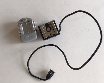 Nikon F flash unit hot shoe adapter and hot shoe to PC attachment cord