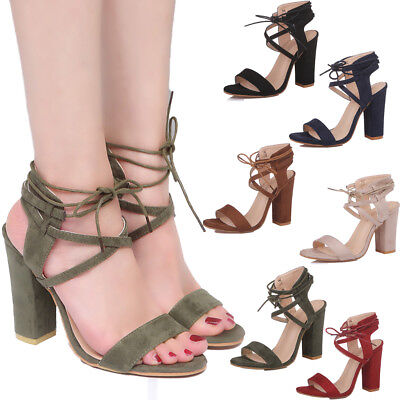 Women Casual High Heels Lace UP Pumps Shoes Open Toe Ankle Strap Sandals Shoes