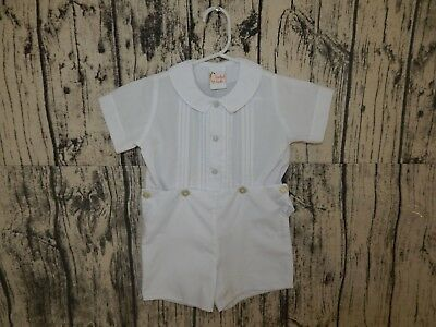 new SMOCKED GIRAFFE Boy White One Piece Outfit Romper Easter Baptism 18M