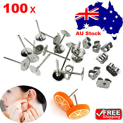 100x Earring Stud Posts 4/6/8mm Pads and backs Hypoallergenic Surgical Stee OZ