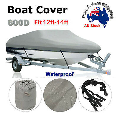 Premium Heavy Duty 600D 12-14ft 3.6-4.2m Marine Grade Trailerable Boat Cover O