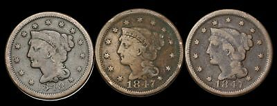 Braided Hair Large Cent, Lot of 3, 1847, 1848