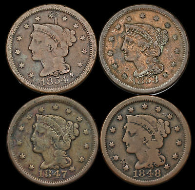 Braided Hair Large Cent, Lot of 4, 1847, 1848, 1853, 1854