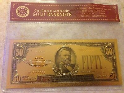 Gold Certificate $50 Bill New Condition