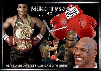 #Personalised Mike Tyson Wall Frame clock, not cd clock, Boxing, Gloves,  Sport