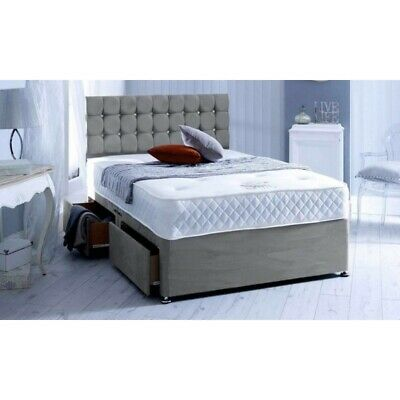Italina Divan Bed Base - Suede Fabric - 3Ft 4Ft 4Ft6 5Ft 6Ft Drawers Headboard