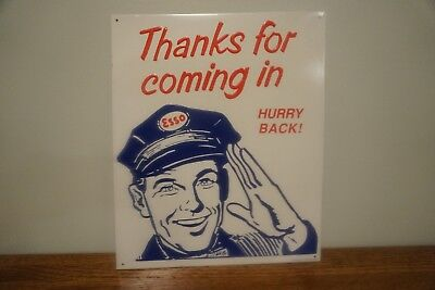 "ESSO Gasoline ""Thanks for coming in"" Hurry Back! Tin Sign AAA sign Company"