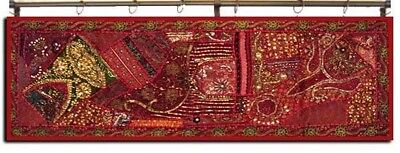 """60"""" Handcrafted Indian Sari Beads Sequin Vintage Décor Wall Hanging Tapestry"""