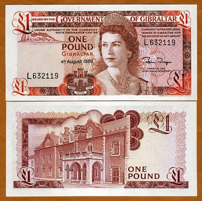 Gibraltar 1 pound 1988 Uncirculated Banknote Clean Crisp Cash Sequential Avail