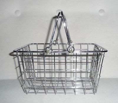 """Metal Wire Shopping Basket Toy Pretend Play Realistic 5"""" D 8"""" W 9"""" L"""