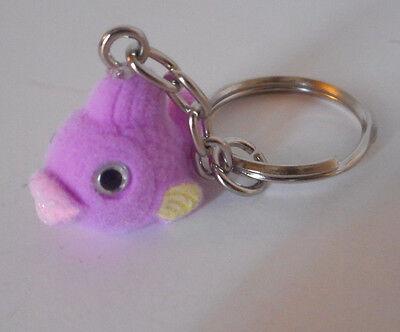 Adorable! key chain backpack purse decoration accessory flocked purple fish