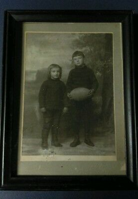 Rare vintage 1920's original photo of children with football in great shape!!