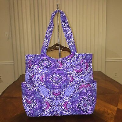 NWT Vera Bradley Pleated Tote In Lilac Tapestry
