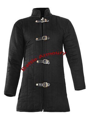 Medieval thick padded Black Gambeson coat Aketon Jacket Armor reenactment SCA`