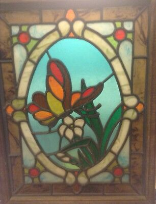 Framed stained glass panel, hand made 11 1/2 X 15 without frame Butterfly Flower