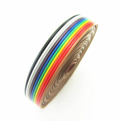 5M of 10 Pin Way Flat Color Rainbow Ribbon IDC Cable wire For Arduino DIY