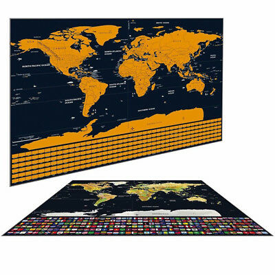 Scratch Off World Journal Map Poster w/US States Country Flags Track Your Memory