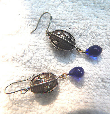 Antique Chinese Heavy Cast Sterling Earrings with Cobalt Glass Drops