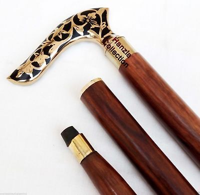 Vintage Victorian Classic Style Wooden Walking Stick Cane Brass Embossed Handle