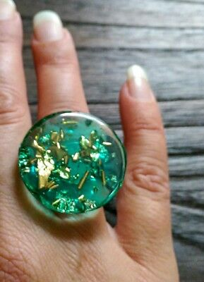 Glass Resin Emerald Golf Foil Round Circle Ring Size 8 US R AU Stainless Steel