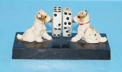 ANTIQUE FOX TERRIER DOG W/ DICE CAST IRON PAPERWEIGHT HUBLEY CIRCA 1930's