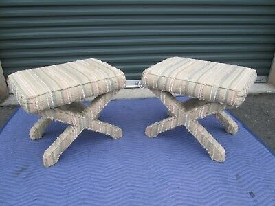 Mid Century Modern X Base Stools / Billy Baldwin Style / Vry Clean / Free Ship