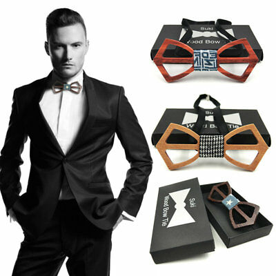 Fashon Men And Women Bow Tie Real Natural Handmade Wooden Bowtie Vintage Wood V