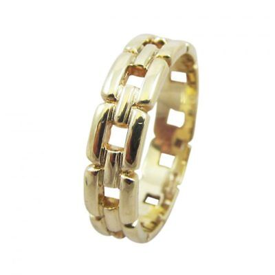 9ct Yellow Gold 4.5mm Light Cut Out Pattern Greek Buckle Wedding Band Ring SizeK