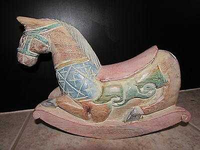 SHABBY CHIC CARVED WOOD CAROUSEL ROCKING HORSE HANDPAINTED FOLK ART Table Decor