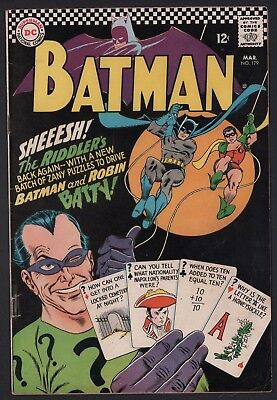 Batman #179 G/VG 3.0 Off White Pages 2nd SIlver Age Riddler