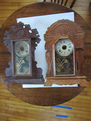 Two Beautiful Antique Gingerbread Clock Cases