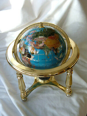 GEMSTONE GLOBE with compass and brass stand.