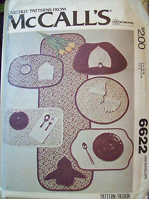 McCall's 6622 Vintage Table Runner, Placemats & Napkins Pattern
