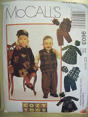 McCall's 9603 Toddlers Dress Vest Pants Hats Pattern Size 2,3,4 USED