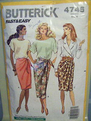 Butterick 4745 Misses Wrap Sarong Style, Side Tie Skirt Pattern Sizes 6-8-10