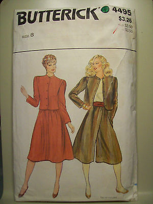Butterick 4495 Misses' Jacket,Skirt, Culottes or Split Skirt Pattern Size 8
